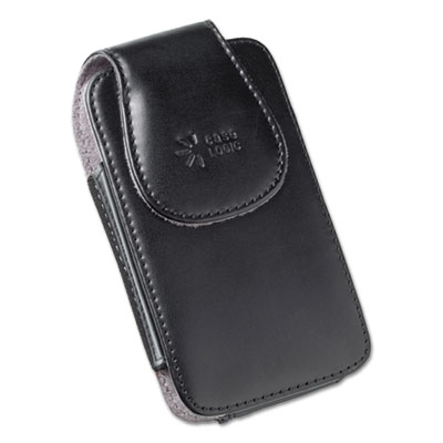 Vertical pouch for belt, leather, black, sold as 1 each
