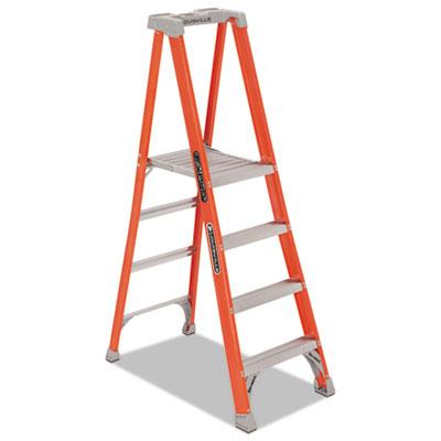 Fiberglass pro platform step ladder, 25w x 9 1/2d x 81 1/4h, 4-step, orange, sold as 1 each