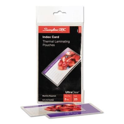 Laminating pouches, 5 mil, 5 1/2 x 3 1/2, index card size, 25/pack, sold as 1 package