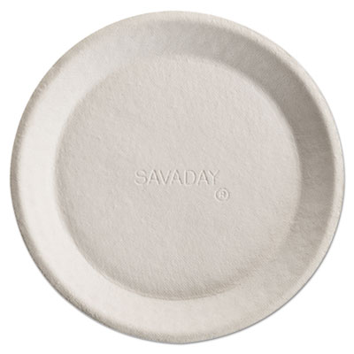 Savaday molded fiber plates, 10 inches, white, round, sold as 1 carton, 500 each per carton