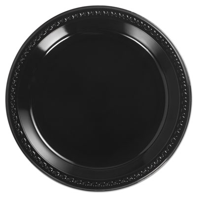 Heavyweight plastic plates, 10 1/4 inches, black, round, sold as 1 carton, 4 each per carton