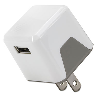 Supercube flip wall charger, usb, white, sold as 1 each