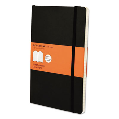 Classic softcover notebook, ruled, 8 1/4 x 5, black cover, 192 sheets, sold as 1 each