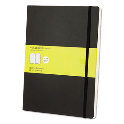 Classic softcover notebook, squared, 10 x 7 1/2, black cover, 192 sheets, sold as 1 each