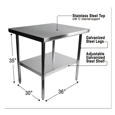Stainless steel table, 36 x 30 x 35, silver, sold as 1 each