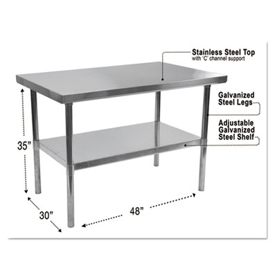 Stainless steel table, 48 x 30 x 35, silver, sold as 1 each