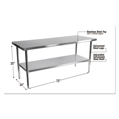 Stainless steel table, 72 x 30 x 35, silver, sold as 1 each