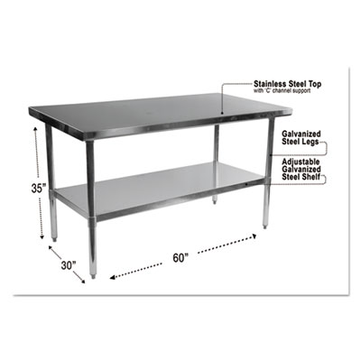 Stainless steel table, 60 x 30 x 35, silver, sold as 1 each
