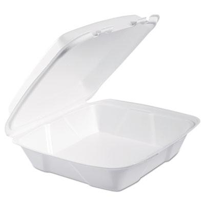 Foam hinged lid containers, 9.375 x 9.375 x 3, white, 200/carton, sold as 1 carton, 200 each per carton