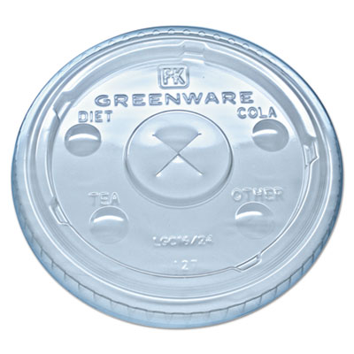 Greenware cold drink lids, fits 16-18, 24 oz cups, x-slot, clear, 1000/carton, sold as 1 carton, 10 package per carton
