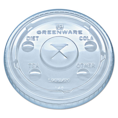 Greenware cold drink lids, fits 9, 12, 20 oz cups, clear, 1000/carton, sold as 1 carton, 1000 each per carton