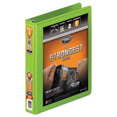 """Heavy-duty round ring view binder w/extra-durable hinge, 1"""" cap, chartreuse, sold as 1 each"""