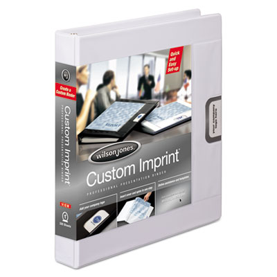 "Custom imprint presentation binder, 1"" cap, white, sold as 1 each"