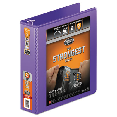 """Heavy-duty round ring view binder w/extra-durable hinge, 2"""" cap, purple, sold as 1 each"""