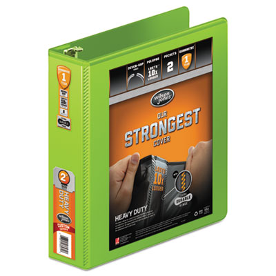 """Heavy-duty round ring view binder w/extra-durable hinge, 2"""" cap, chartreuse, sold as 1 each"""