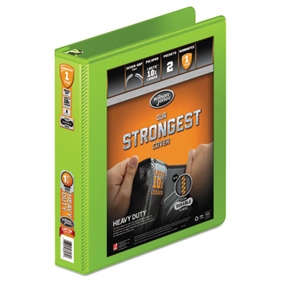 """Heavy-duty round ring view binder w/extra-durable hinge, 1 1/2"""" cap, chartreuse, sold as 1 each"""