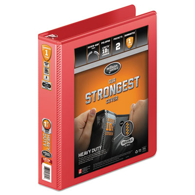 "Heavy-duty round ring view binder w/extra-durable hinge, 1 1/2"" cap, red, sold as 1 each"