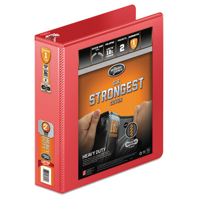 """Heavy-duty round ring view binder w/extra-durable hinge, 2"""" cap, red, sold as 1 each"""