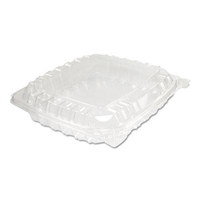 Clearseal plastic hinged container, 8-5/16 x 8-5/16 x 2, clear, 125/bg, 2 bg/ct, sold as 1 carton, 2 each per carton