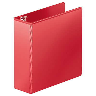 "Heavy-duty d-ring view binder w/extra-durable hinge, 3"" cap, red, sold as 1 each"