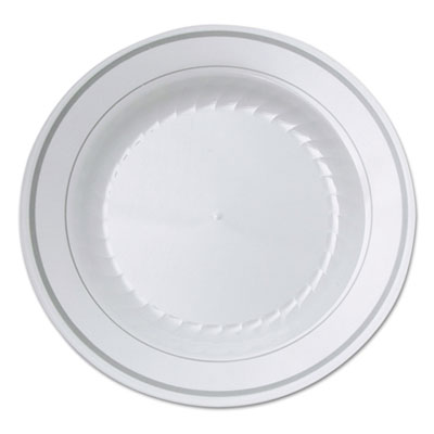 Masterpiece plastic plates, 6 in., white w/silver accents, round, 10/pack, sold as 1 package
