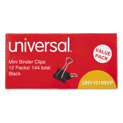 "Mini binder clips, steel wire, 1/4"" capacity, 1/2"" wide, black/silver, 144/pack, sold as 1 package"