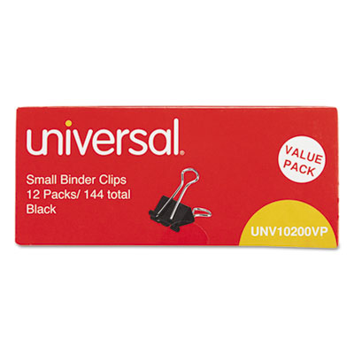 """Small binder clips, steel wire, 3/8"""" capacity, 3/4"""" wide, black/silver, 144/pack, sold as 1 package"""