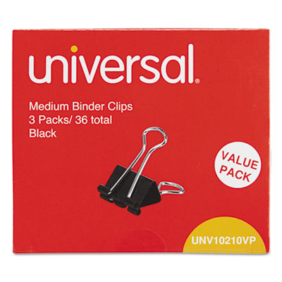 "Medium binder clips, steel wire, 5/8"" cap., 1-1/4"" wide, black/silver, 36/pack, sold as 1 package"