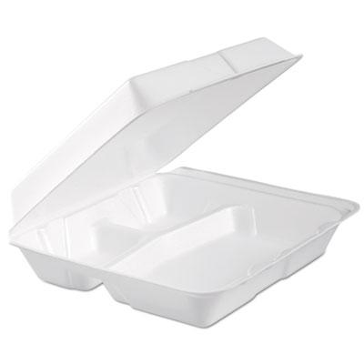 Foam hinged lid container, 3-comp, 9.3 x 9 1/2 x 3, white, 100/bag, 2 bag/carton, sold as 1 carton, 200 each per carton