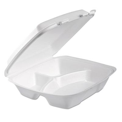 Foam hinged lid container, 3-comp, 9 x 9 2/5 x 3, white, 100/bag, 2 bag/carton, sold as 1 carton, 2 package per carton