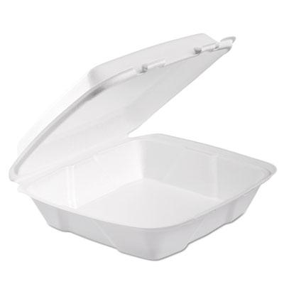 Foam hinged lid container, 1-comp, 9 x 9 2/5 x 3, white, 100/bag, 2 bag/carton, sold as 1 carton, 2 each per carton