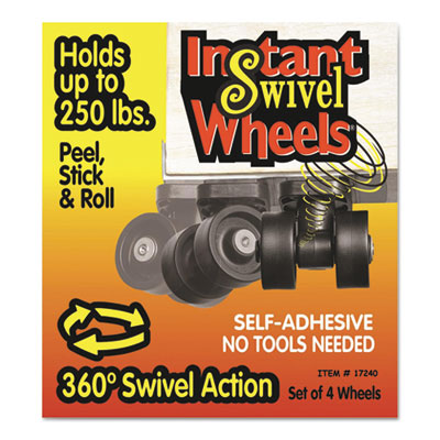 Roll-arounds instant swivel wheels, self-adhesive, black, 4/set, sold as 1 set