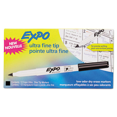 Low-odor dry-erase marker, ultra fine point, black, dozen, sold as 1 dozen