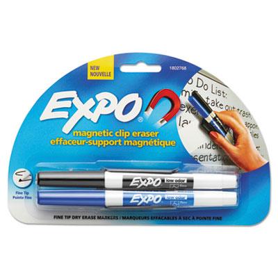 Magnetic clip eraser w/2 markers, fine, black/blue, 1 set, sold as 1 set
