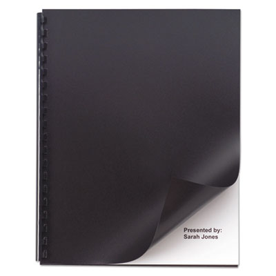 Opaque plastic presentation binding system covers, 11 x 8-1/2, black, 50/pack, sold as 1 package