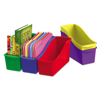 Interlocking book bins, 4 3/4 x 12 5/8 x 7, 5 color set, plastic, sold as 1 package