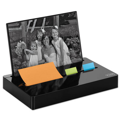 "Pop-up note/flag dispenser plus photo frame with 3 x 3 pad, 50 1"" flags, black, sold as 1 package"