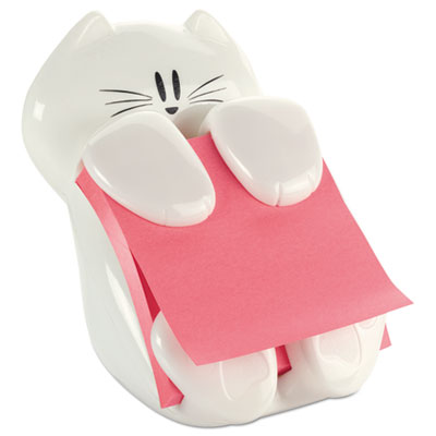Pop-up note dispenser cat shape, 3 x 3, white, sold as 1 package