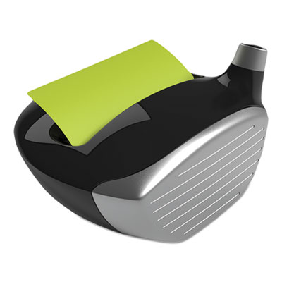 Pop-up notes golf dispenser, 3 x 3, golf driver, black/silver, sold as 1 package