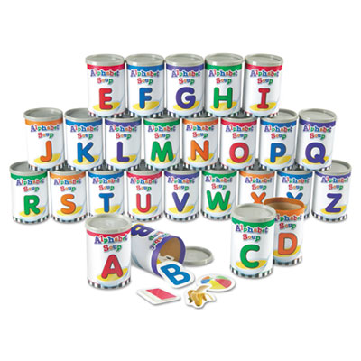 Alphabet soup sorters, 26 cardboard cans w/lids, 130 photo cards, 52 letters, sold as 1 each