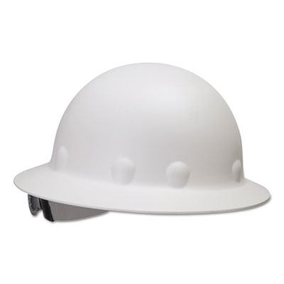 E-1 full brim hard hat with ratchet suspension, white, sold as 1 each