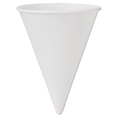 Cone water cups, cold, paper, 4oz, white, 200/bag, 25 bags/carton, sold as 1 carton, 5000 each per carton