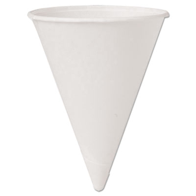 Cone water cups, cold, paper, 4oz, white, 200/pack, sold as 1 package