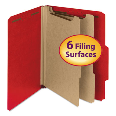 "Pressboard classification folder, 2"" exp., 2 dividers, letter, bright red, 10/bx, sold as 1 box, 10 each per box"