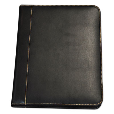 Contrast stitch leather padfolio, 8 1/2 x 11, leather, black, sold as 1 each