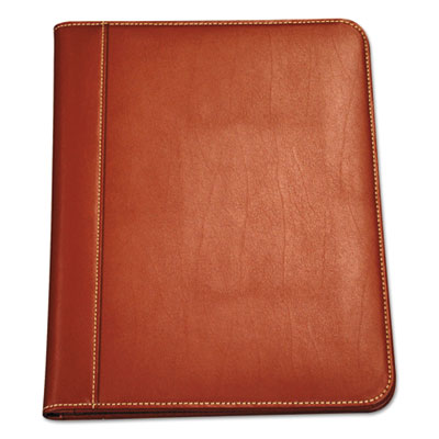 Contrast stitch leather padfolio, 8 1/2 x 11, leather, tan, sold as 1 each