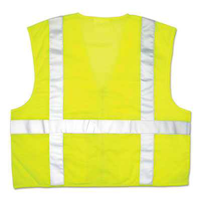 Luminator safety vest, lime green w/stripe, large, sold as 1 each