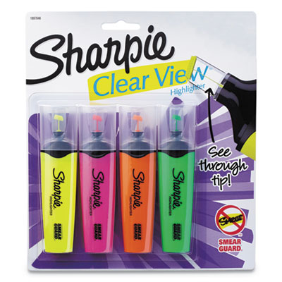 Clearview highlighter, blade tip, assorted ink, 4 per set, sold as 1 set
