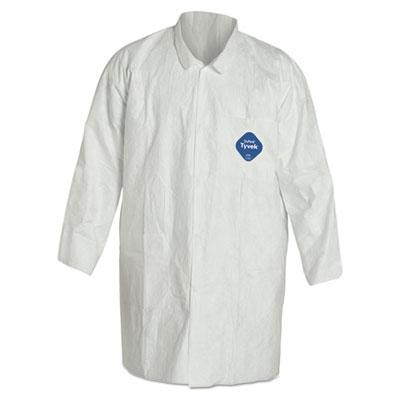 Tyvek lab coat, white, snap front, 2 pockets, medium, 20/carton, sold as 1 carton, 30 each per carton
