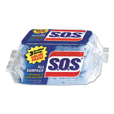 "All surface scrubber sponge, 2 1/2 x 4 1/2, 0.9"" thick, blue, 3/pack, 8 packs/ct, sold as 1 carton, 8 package per carton"